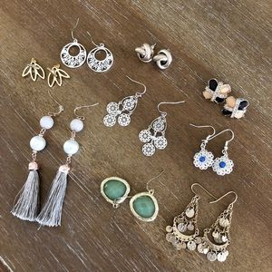 Variety of earrings (9 pairs)
